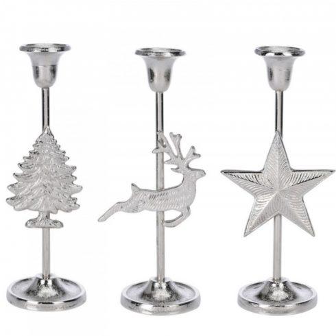 Ruby ezüst színű gyertyatartó háromféle dizájnban 25cm