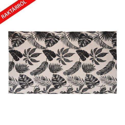 Amilla bézs pamutszőnyeg fekete trópusi levélmintával 120x180cm