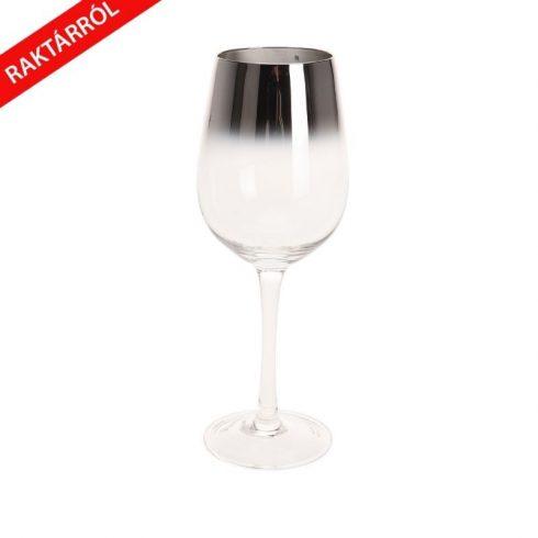 Elza ombre üveg borospohár ezüst színben